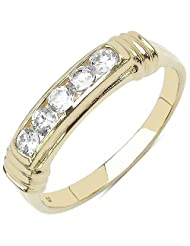 0.90CTW White Cubic Zircon 14K Yellow Gold Plated .925 Sterling Silver Ring