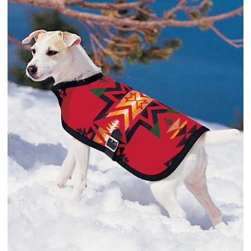 Pet coats red pendleton dog coat jacket medium for Amazon com pillow pets