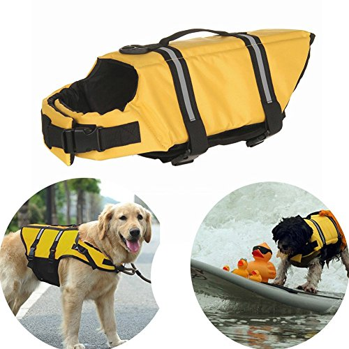 MAIKE MALL Puppy Dog Life Jacket Outward Hound Pet Life Vest Saver Beach Bathing Suit Quick Release Easy-Fit Adjustable for Summer Swimming S/M