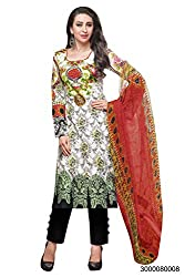 Yehii Women's Cotton White Floral dress material Unstitched Salwar Kameez Dupatta for women party wear low price Below Sale Offer