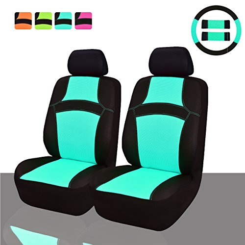 NEW ARRIVAL- CAR PASS RAINBOW Universal Fit Car Seat Cover -100% Breathable With 5mm Composite Sponge Inside,Airbag Compatible (9PCS, Mint Blue) (Car Girl Seat Covers compare prices)