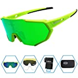 Sports Sunglasses Protection Cycling Glasses with 4 Interchangeable Lenses Polarized UV400 for Cycling, Baseball,Fishing, Ski Running,Golf (Green-1) (Color: green-1)