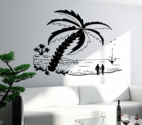 Wall Decal Beach Palm Sunset Romantic Love Sea Decor For Bedroom (z2638)