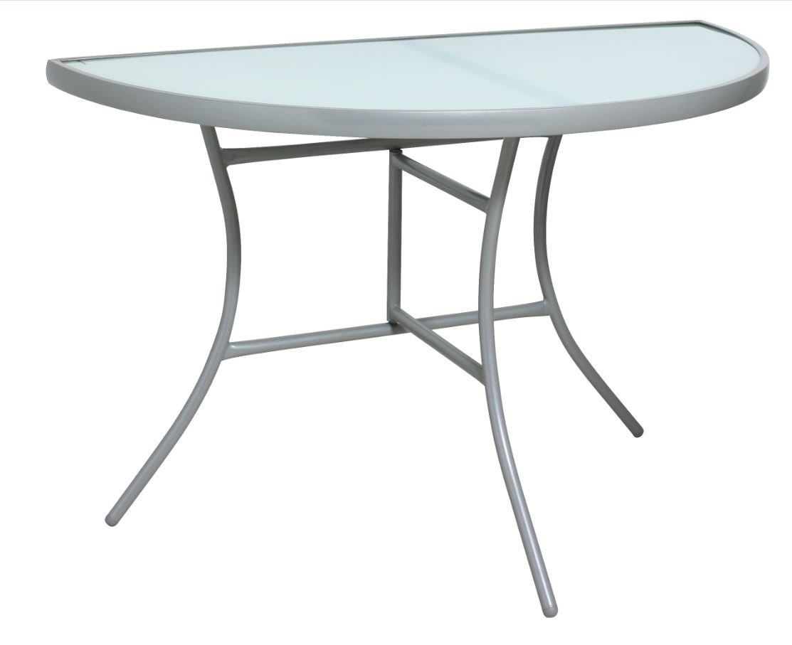 Wandtisch PALERMO halbrund 58x110cm, klappbar, Stahl silberfarben, Glas schwarz, Innen und Außen