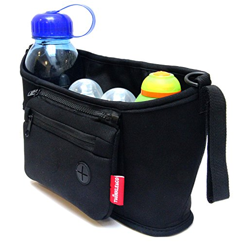 Stroller Bag - Stroller Organizer - Black - Universal - Fit For Most Baby Stroller Bars Or Stroller Handles - Neoprene Buggy Umbrella Stroller Pram Bag - Has Double Cup Holders - Best For Parent - Easy To Use - Good Quality - Bpa Free - Satisfaction Guara front-649216
