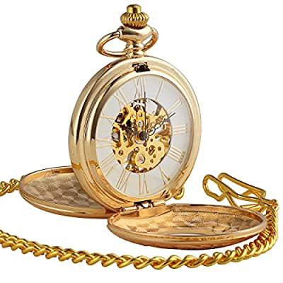 ManChDa Double Cover Roman Numerals Dial Hand Wind Skeleton Mens Women Pocket Watch Gift