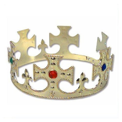 Gold Jeweled Prince King or Queen Crown