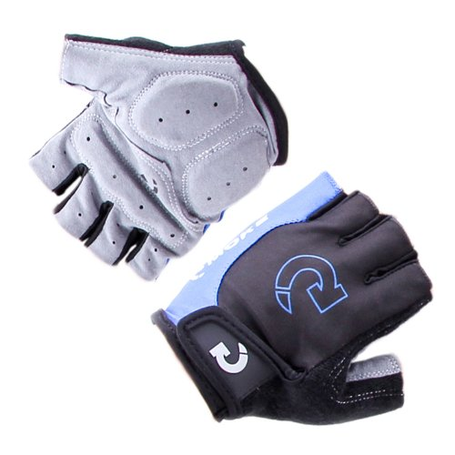 Padded Ventilated Bike Bicycle Cycling Mountain Road Half Gel Silicone Antiskid Finger Gloves/ Half Finger Gloves / Sport Gloves Mitten/ Fingerless Cycle mitts, Soft durable microfiber Material with Velcro Strap -Black with Blue