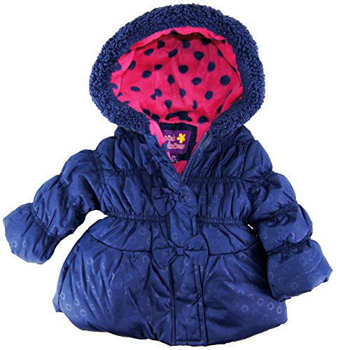 Pink Platinum Baby Girls Infant Tonal Puffer Winter Jacket With Bow, Navy, 12M front-579700