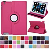 HDE 360° Rotating Leather Folio Case and Stand with Sleep/Wake Feature for iPad 2/3/4 (Hot Pink)