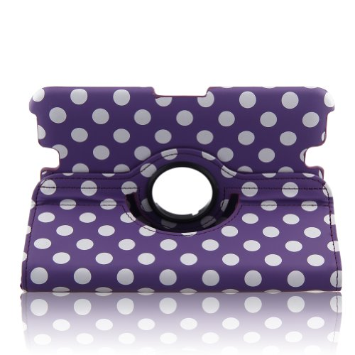 Auto Sleep/Wake Function 360 Degree Rotating Stand Smart Protective Case Cover For 7 Inch 2012 Version Kindle Fire Hd + Free Gift One Stylus Pen--Purple.Dot Pattern