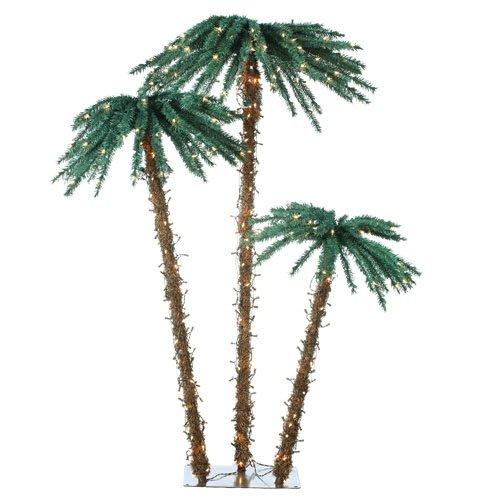 Sterling 5208-3556C 3.5-Feet, 5-Feet And 6-Feet Pre-Lit Palm Tree Clear Lights