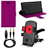 Purple PU Leather Standing Cell Phone Wallet Case for Amazon Fire Phone 32GB & 64GB (AT&T) + Screen Protector + 3.5mm Auxiliary Cable + Air Conditioner Vent Mount