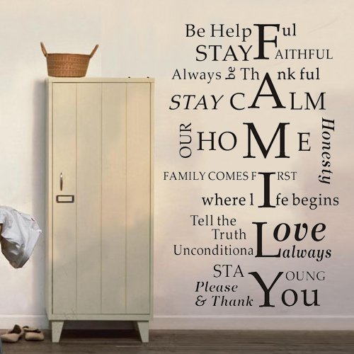 """Colorfulhall 23.6"""" X 37.4"""" Black Color Removable Wall Saying Wall Decal Stickers Quote Family I Love You Favorite Diy Art Room Decor Mural Vinyl Home Decoration front-666252"""