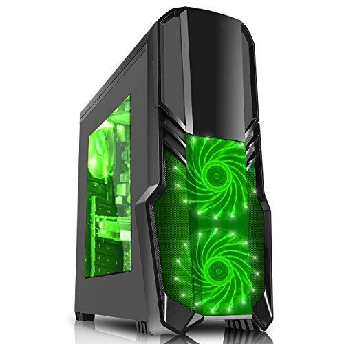 CiT Boîtier de gaming G Force avec 15LED Vert Ventilateur avant-Noir