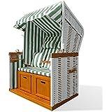 Strandkorb Bristol grün-weiß, Polyrattan mit Klapptischen, Fußstützen, Seitentaschen, Transportgriffen, Nackenkissen und Rückenkissen, Einstellwinkel 90-180°, 118x160x81 cm