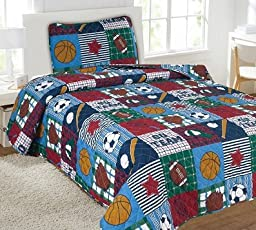 Gorgeous Home (#22) SPORTS HOCKEY 5PC COMPLETE QUILT & SHEET SET Twin Size Printed Kids Designs Bed Bedding Coverlet Bedspread With 2 Pillow Cases For Boys