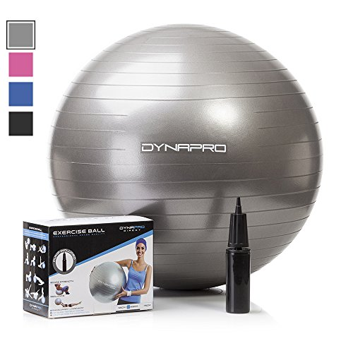 Exercise Ball with Pump- Gym Quality, Anti-Burst, Anti-Slip (Silver, 75 centimeters) Fitness Ball by DynaPro Direct. More colors and sizes available aka Yoga Ball, Swiss Ball