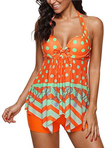 09f8d85a64cb8 Zando Tummy Control Tankini Swimdress for Women Slimming Skirt Print Swimsuit  with Boyshorts