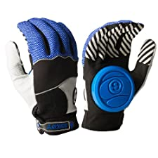 Sector 9 Apex 2014 Longboard Skateboard Slide Gloves Blue / Black / Grey / Size L/XL With Slide Pucks