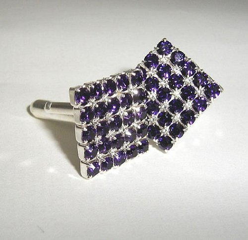Lj Designs Purple Velvet Square Diamante Cufflinks - Gold Finish - Swarovski Crystal