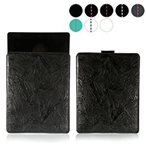 MediaDevil Apple iPad 2/3/4 leather case (Black with Black stitching) - Artisanpouch genuine European leather pouch case with pull-tab