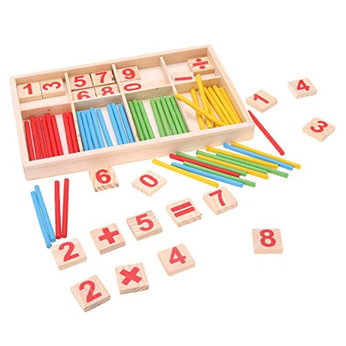 Kids Educational Math Toy Wooden Number Cards and Counting Sticks for Children