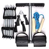 Exercise Set - 5 Spring Chest Expander+Hand Gripper+Rowing Exercise Machine+Rope