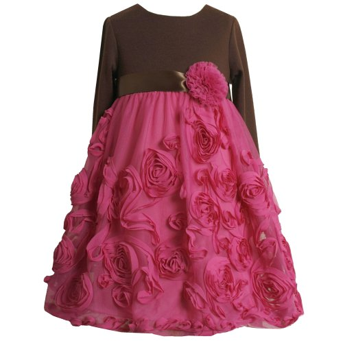 Size-4 BNJ-4661B FUCHSIA-PINK BROWN BONAZ ROSETTE KNIT MESH BUBBLE SKIRT Special Occasion Flower Girl Party Dress,B34661 Bonnie Jean LITTLE GIRLS