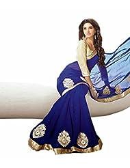 Shamiyana Creations Exclusive Design Royal Blue Chiffon Saree With Blouse Piece