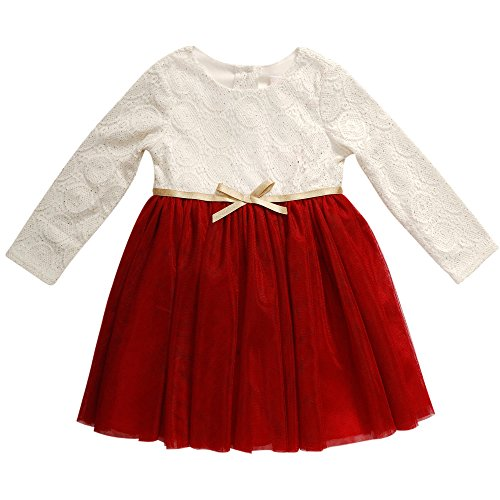 Youngland Little Girls' Toddler Long Sleeve Textured Knit to Mesh Dress, Red/White, 3T