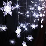 Fuloon® 8 Modes 2M*1M 104PCS LED Snowflake Shape LED String Fairy Light Decorative Curtain Lighting For Garden Party Wedding Festival (Cool White)