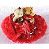 Red Hanging Heart With Love Couple Teddy Bears