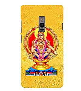 Fuson Premium Back Case Cover Lord Ayappa With yellow Background Degined For One Plus Two::One Plus 2::One+2