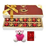 Sparkling Treat Of Wrapped Chocolates With Teddy And Love Card - Chocholik Belgium Chocolates