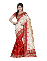 Temptingg Fashions Red Chanderi Embroidery And Lace Border Work Saree