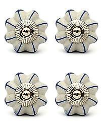 Knobs & Hooks FBK-347 Ceramic Cabinet Knob; White+Blue; (Set of 4 pieces)