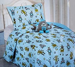 Robot Design TWIN Comforter Set with Sham and Robot Decorative Plush Pillow