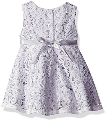 Youngland Baby Girls' 2 Piece Lace Dress and Knit Cardigan, Silver/White, 12 Months