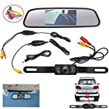 "AGPtek® Wireless Backup CMOS Wide Angle License Plate Camera With 7 LED Night Vision + 4.3"" TFT LCD Rear View Mirror Monitor Screen"