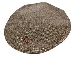 Brown Tweed Flat Cap Celtic Circle Emblem Medium
