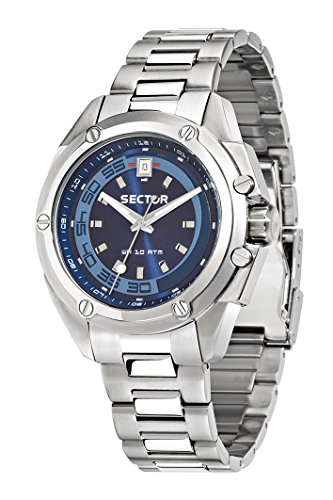Sector No Limits 950 Men's Quartz Watch with Blue Dial Analogue Display and Silver Silicone Strap R3253581004