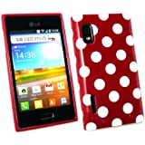 Emartbuy ® Lg Optimus L5 E610 Polka Dots Gel Skin Cover / Case Rot / weiß