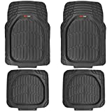 Motor Trend MT-921-BK FlexTough Tortoise - Heavy Duty Rubber Floor Mats for Car SUV Van & Truck - All Weather Protection - Deep Dish (Black)