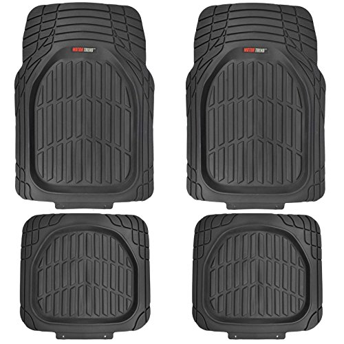 MotorTrend FlexTough Tortoise - Heavy Duty Rubber Floor Mats for All Weather Protection - Deep Dish (Black) (Car Mats Kia Sorento 2015 compare prices)