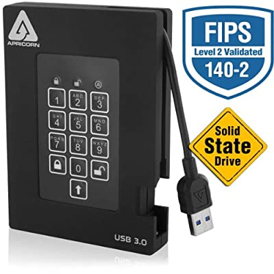 Apricorn Aegis Fortress FIPS 256 GB 140-2 Level 2 Validated 256-Bit Encrypted USB 3 External SSD (A25-3PL256-S256F)
