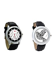 Gledati Men's Black Dial And Foster's Women's White Dial Analog Watch Combo_ADCOMB0001837
