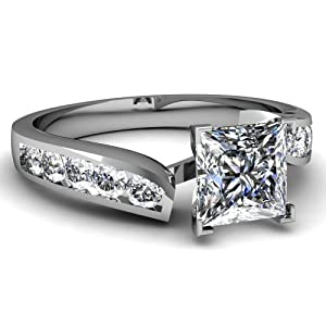 0.75 Ct Princess Very Good Cut Diamond Engagement Ring Channel Set VS2-E GIA 14K