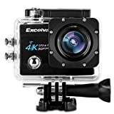 Excelvan Q8 アクションカメラ 2.0インチ WiFi搭載 4K(30FPS) 1600万画素 H.264 30m防水 170°広角度 バイク/自転車/車などに取り付け可能(ブラック)