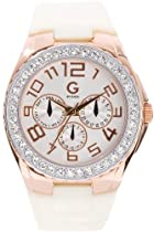 G by Guess Womens Multifunction Crystal Accented Rose Gold Stainless Steel Case Watch G99011L1